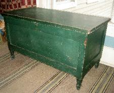 antique green painted country blanket box