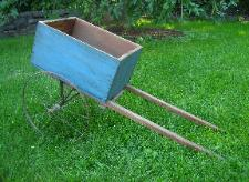 antique blue painted dog goat cart