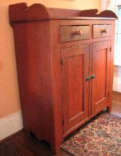 antique painted red jelly linen press cupboard