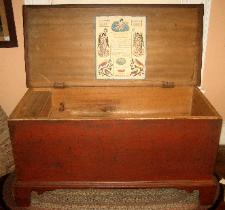 antique painted bracket foot blanket box chest with fraktur